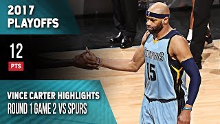 Vince Carter Highlights Playoffs Game 2 Grizzlies vs Spurs (04.17.2017) 12pts