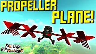 20 PROPELLER PLANE! Will it Fly? - Scrap Mechanic Wings Mod Gameplay