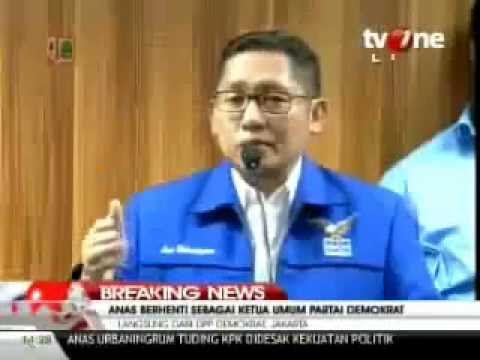 Anas Urbaningrum Pidato Tanpa Teks Saat Mundur dari Ketua Umum Partai Demokrat