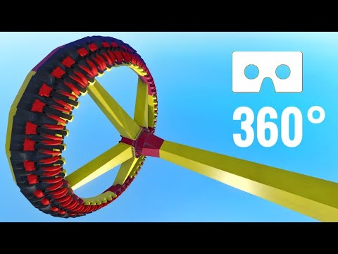 360 video | Scary Roller Coaster VR 360° Giant Swinging Disc 60fps 4K