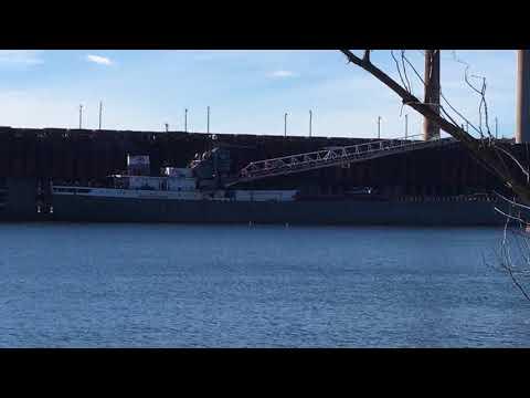 """Marquette, Michigan ore dock and ship """"Michipicoten"""". 10/10/17"""