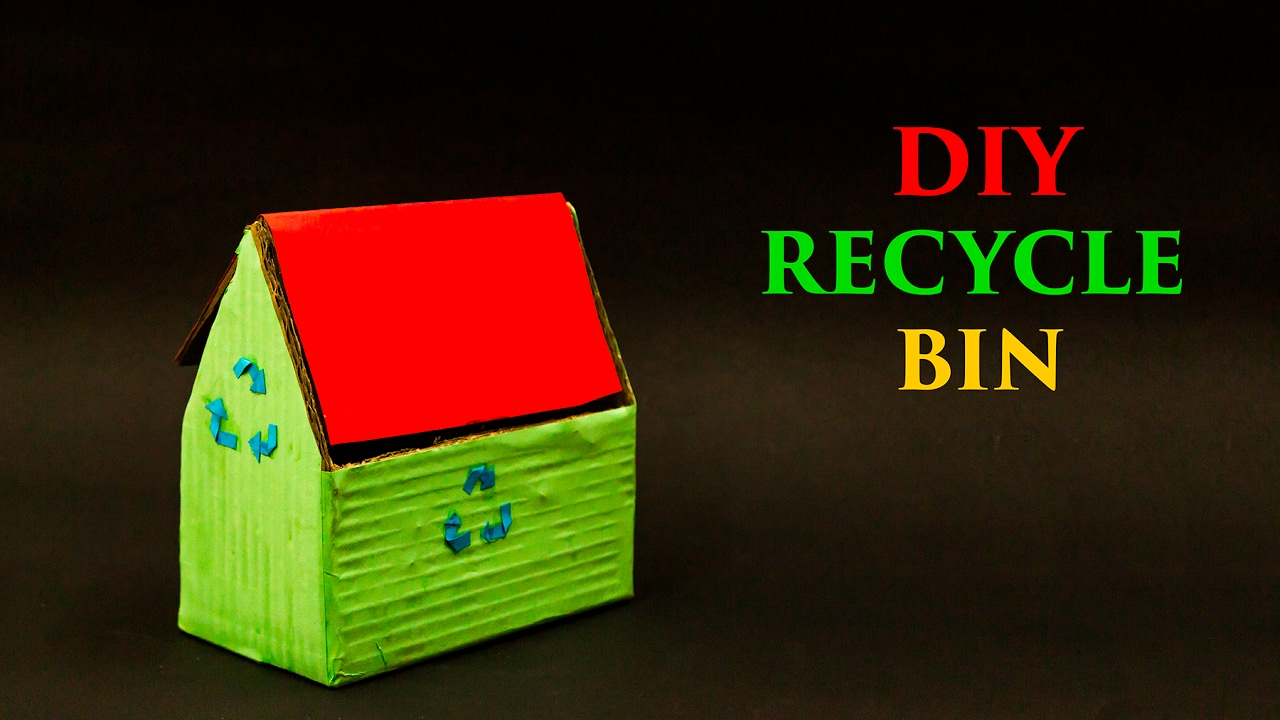 cardboard recycle bin diy projects youtube. Black Bedroom Furniture Sets. Home Design Ideas