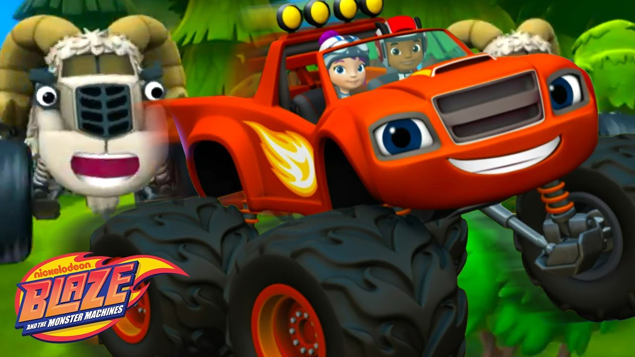 Blaze Gets Chased By Wild Sheep! | Blaze and the Monster Machines