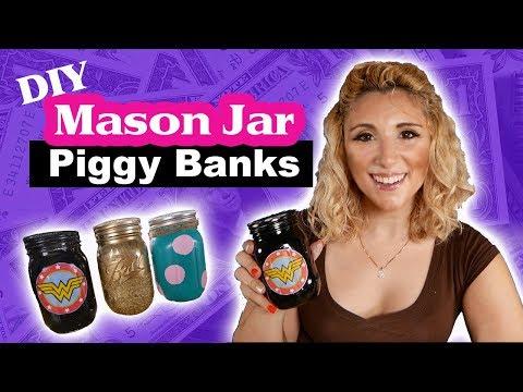 3 Ways to Make Easy DIY Mason Jar Piggy Banks | Crafts for Kids | Tutorial | Episode 30
