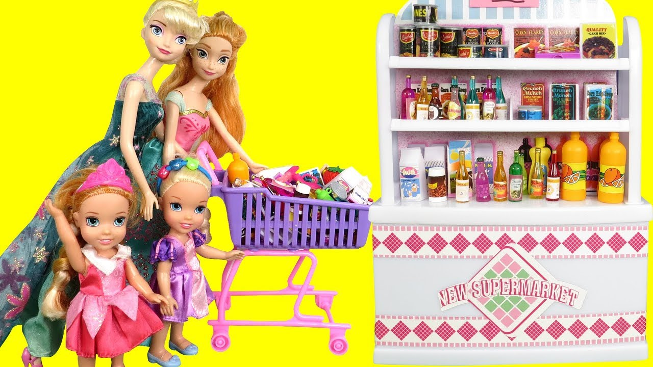 Download Mall SHOPPING ! Elsa and Anna toddlers at the Food Court - Beauty supplies - furniture- grocery