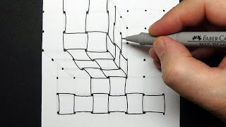How to Draw Braid Cube - Drawing 3D Tangle on Cube - Relaxing Art Therapy