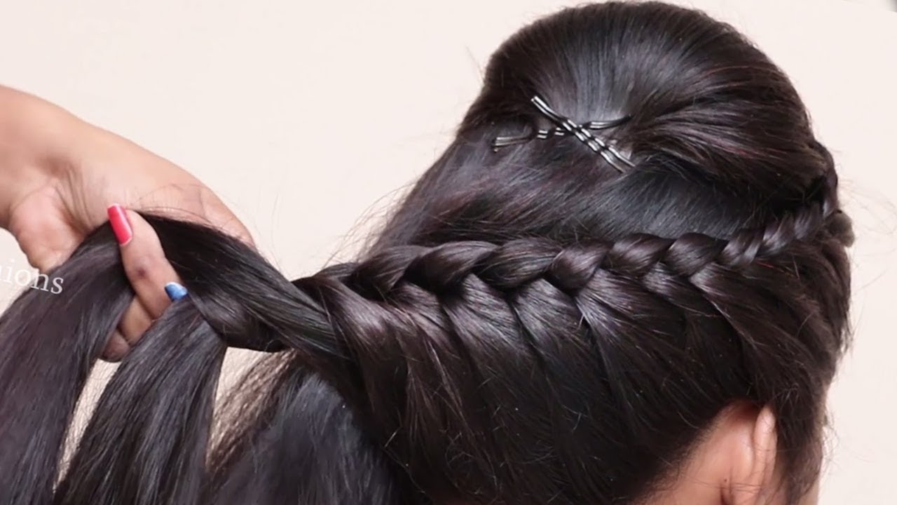 Easy Braided Hairstyle For Wedding/party