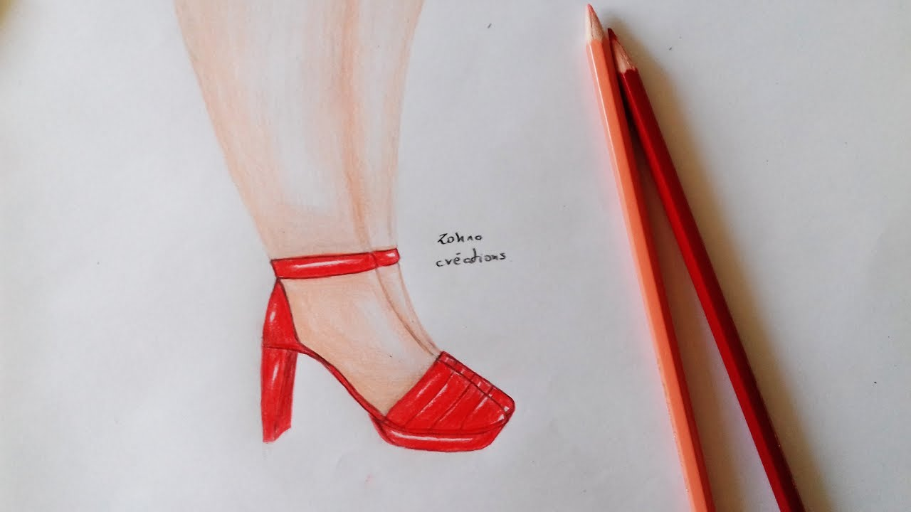 How To Draw Simple High Heels - YouTube