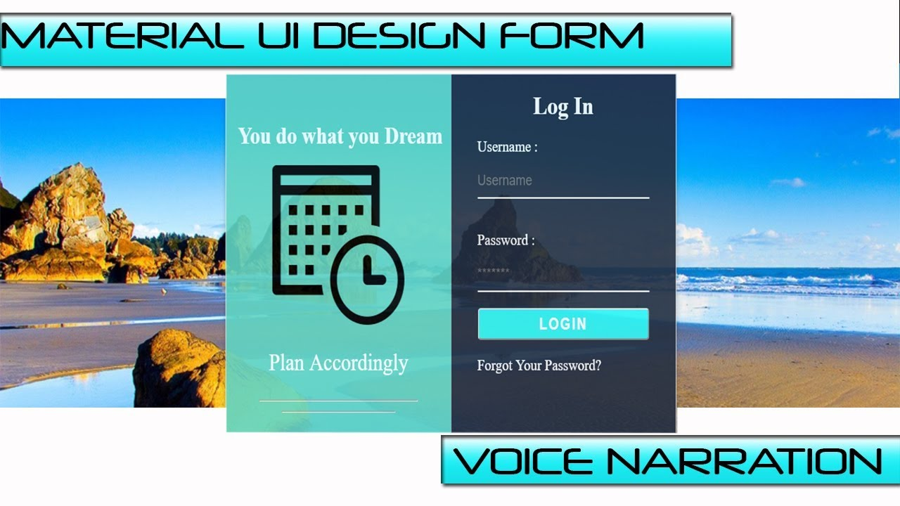 How To Create Login Form With Html Css Material Ui Design Form