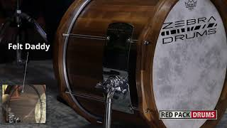 1 Kick 4 Beaters 3 Tunings with a Zebra drums free floating Walnut Bassdrum (sound examples)