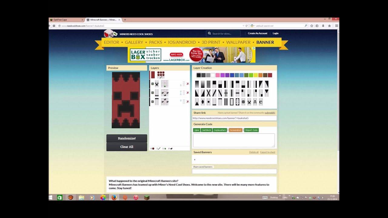 Minecraft Optifine Cape Banner Erstellen YouTube - Minecraft server status banner erstellen