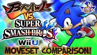 SC: Brawl vs Smash Bros. Wii U - Sonic Moveset & Model Comparison!