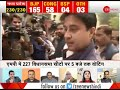 Congress leader Jyotiraditya Scindia speaks to media after casting his vote