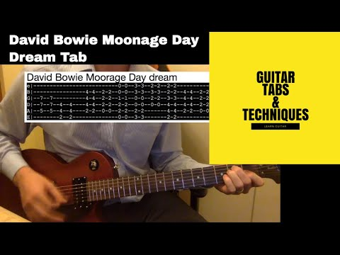 David Bowie Moonage Day Dream Guitar Lesson Tutorial With Tabs with solo