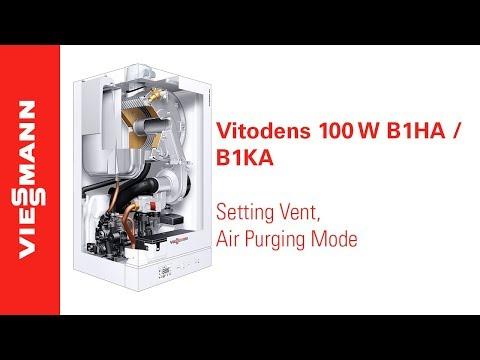 How to set vent, air purging mode on a Vitodens 100-W, B1HA / B1KA