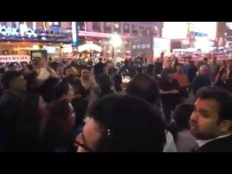 Indians celebrating Modi Win at Times Square, NY