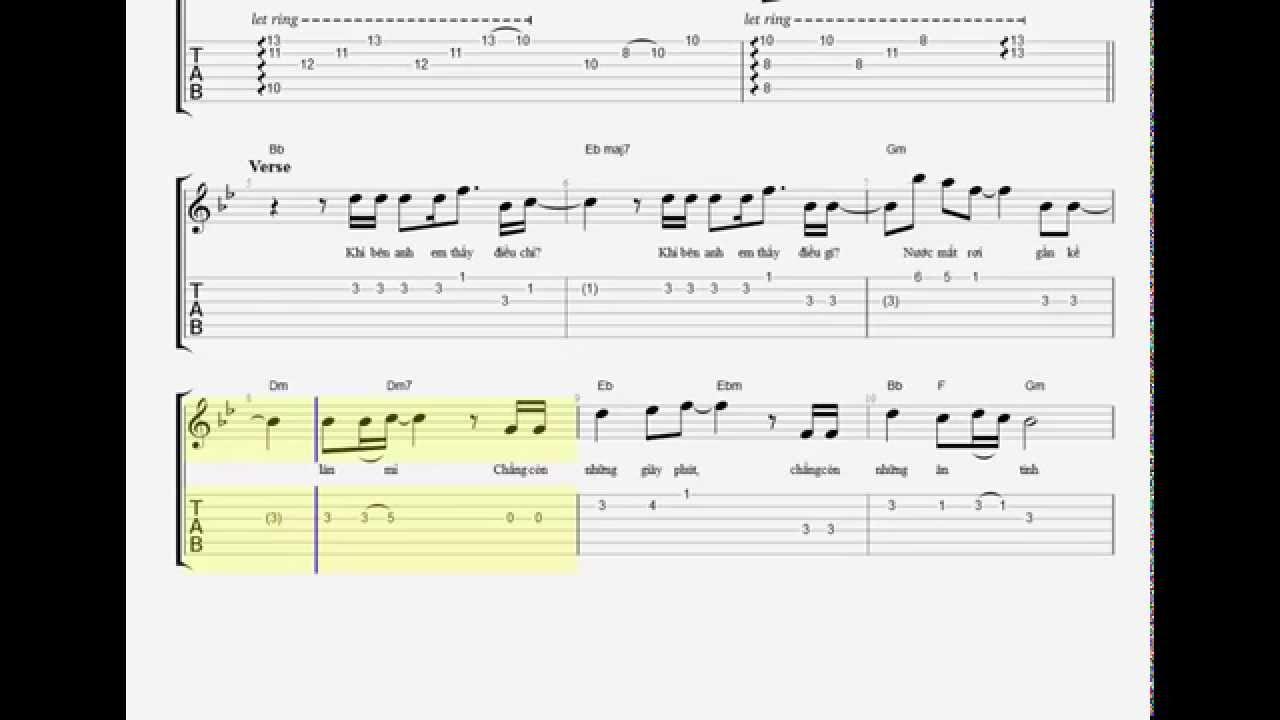 Âm Thầm Bên Em -sơn tùng mtp guitar intro TAB