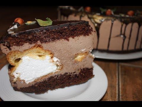 Шоколадно- муссовый торт с профитролями