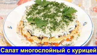 Салат многослойный с куриным мясом - рецепт слоёного салата для праздничного стола - Про вкусняшки