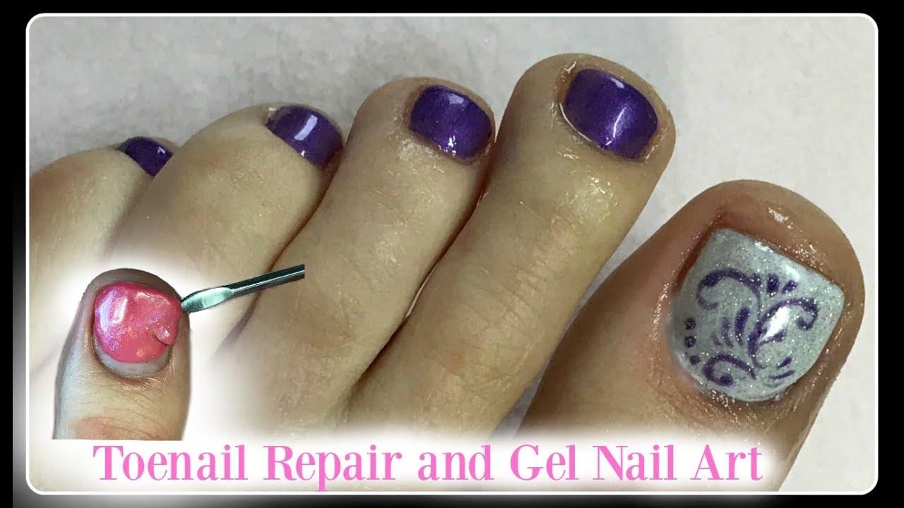 👣How to Mini Pedicure at Home Remove Gel Polish on Toenails Repair ...