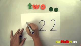 Number two ( 2 ) lesson - tracing, spelling and writing numbers - Kindergarten & 1st grade