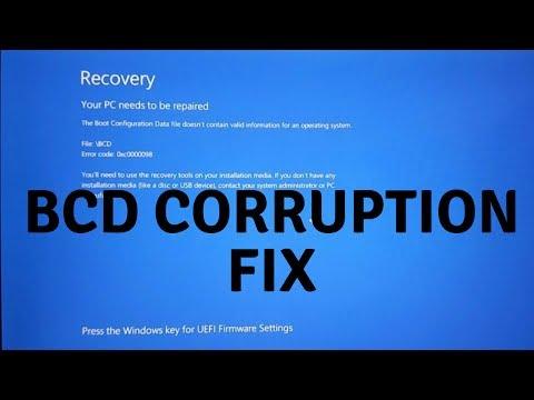 FIX FOR WINDOWS \BCD corruption error 0x0000098 BOOT