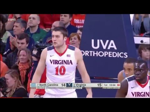 #3 Virginia vs #7 North Carolina Basketball 2016 (Full Game)