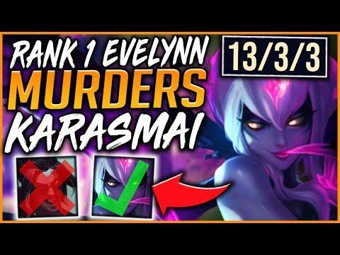 RANK 1 CHALLENGER EVELYNN MURDERS BEST KAYN WORLD (INSANE OUTPLAYS) - League of Legends