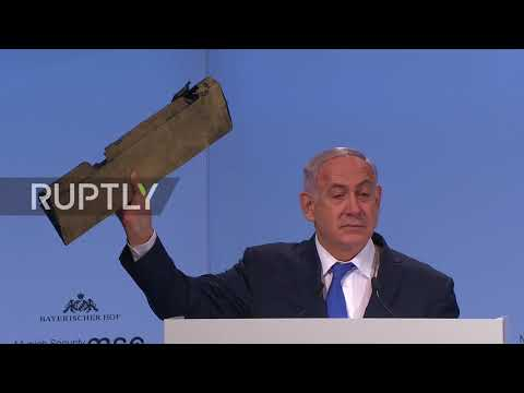Germany: 'Do you recognise this' Mr Zarif? Netanyahu holds 'Iranian drone' wreckage