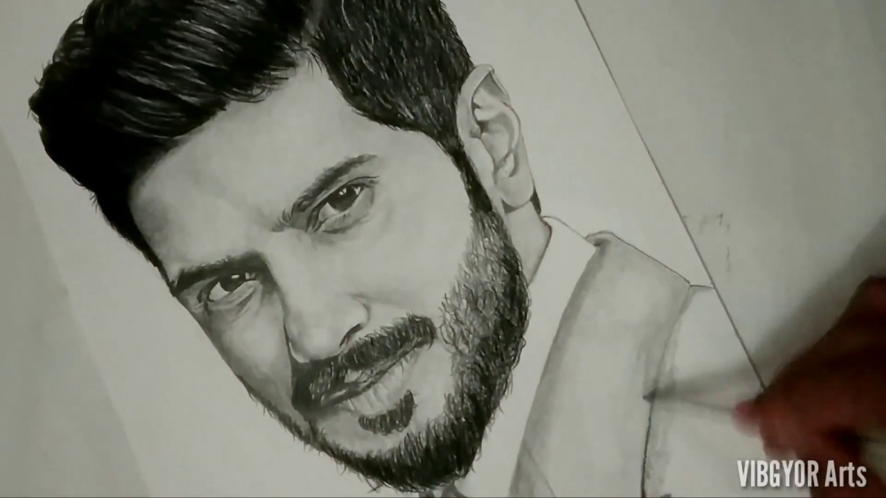 Dulquer salman pencil drawing