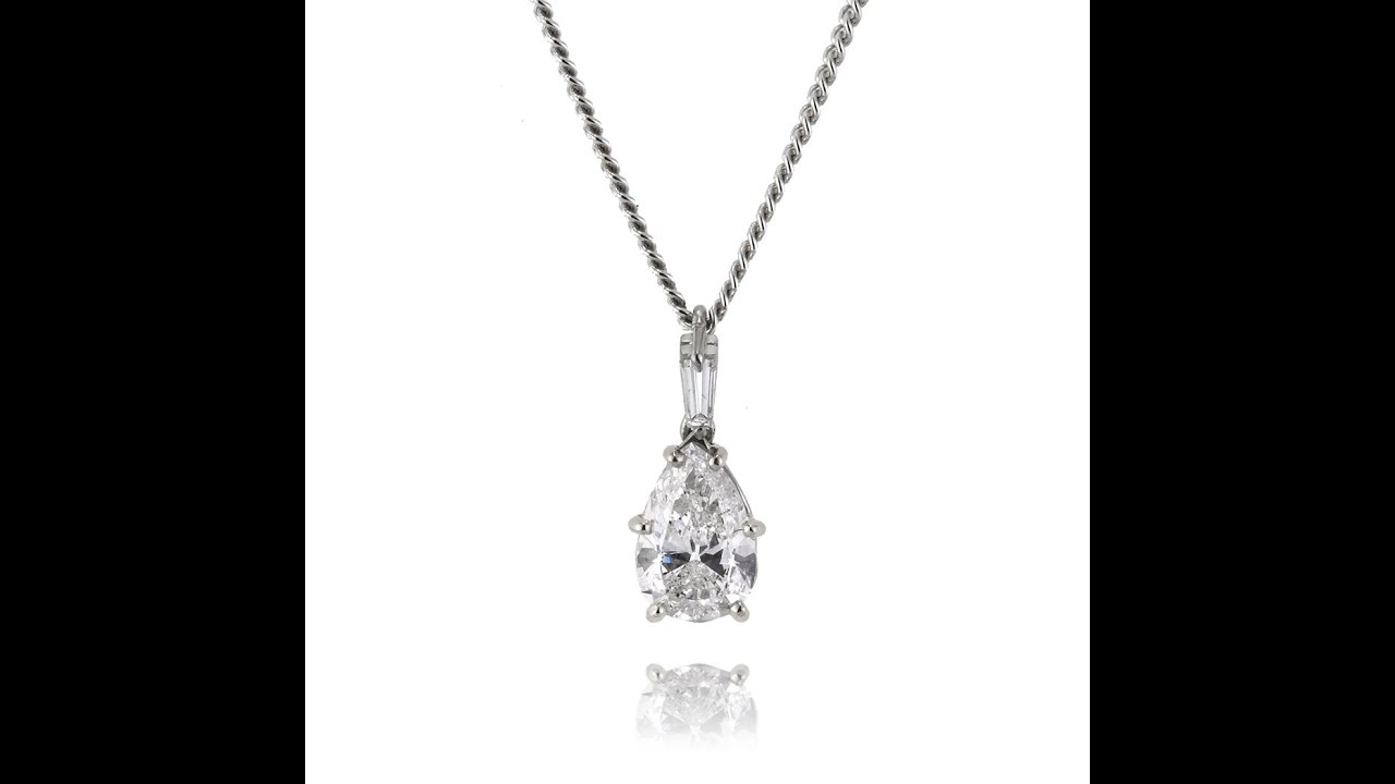 carat for pendant shape pear cluster women shaped necklace diamond product solitaire