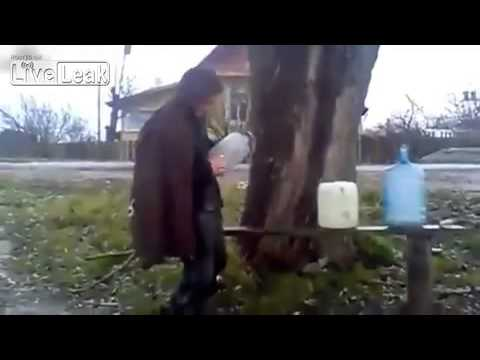 Crazy Russians Blowing Up Bottles Filled With Gas 2015