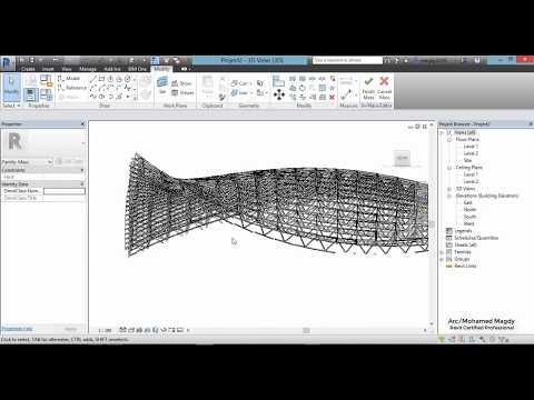 Space Trussed Frame System - Mass - Revit