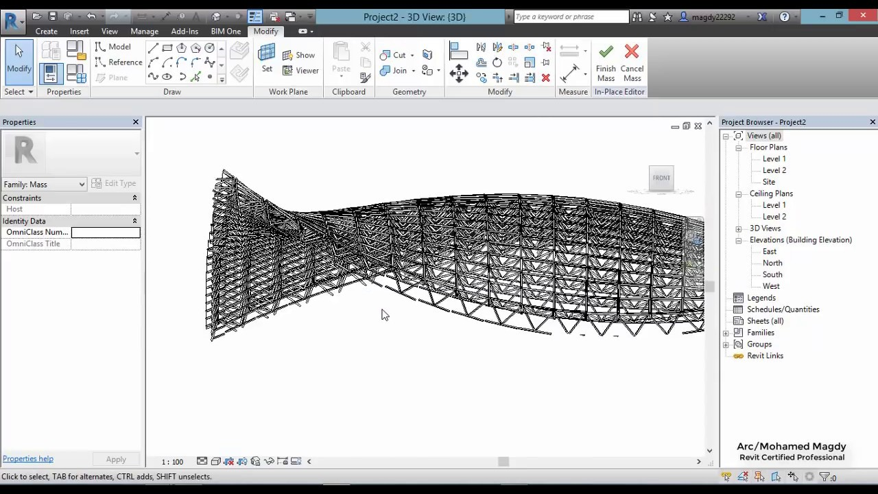 Space Trussed Frame System Mass Revit Youtube