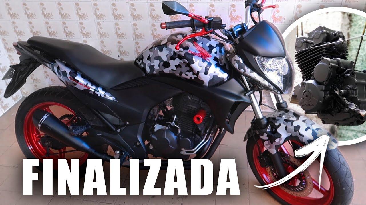 PINTURA TOP NO MOTOR E OUTRAS PARTES DA CB 300R CAMUFLADA - PRETO FOSCO