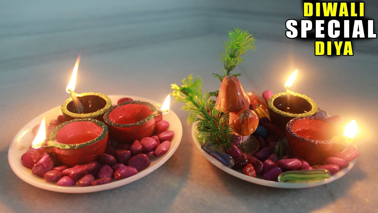 Diy for diwali diwali home decoration ideas diya for Diya decoration youtube