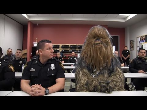 Star Wars' Chewbacca Rides Along in Police Recruit Video: 'You Get the Wookiee'