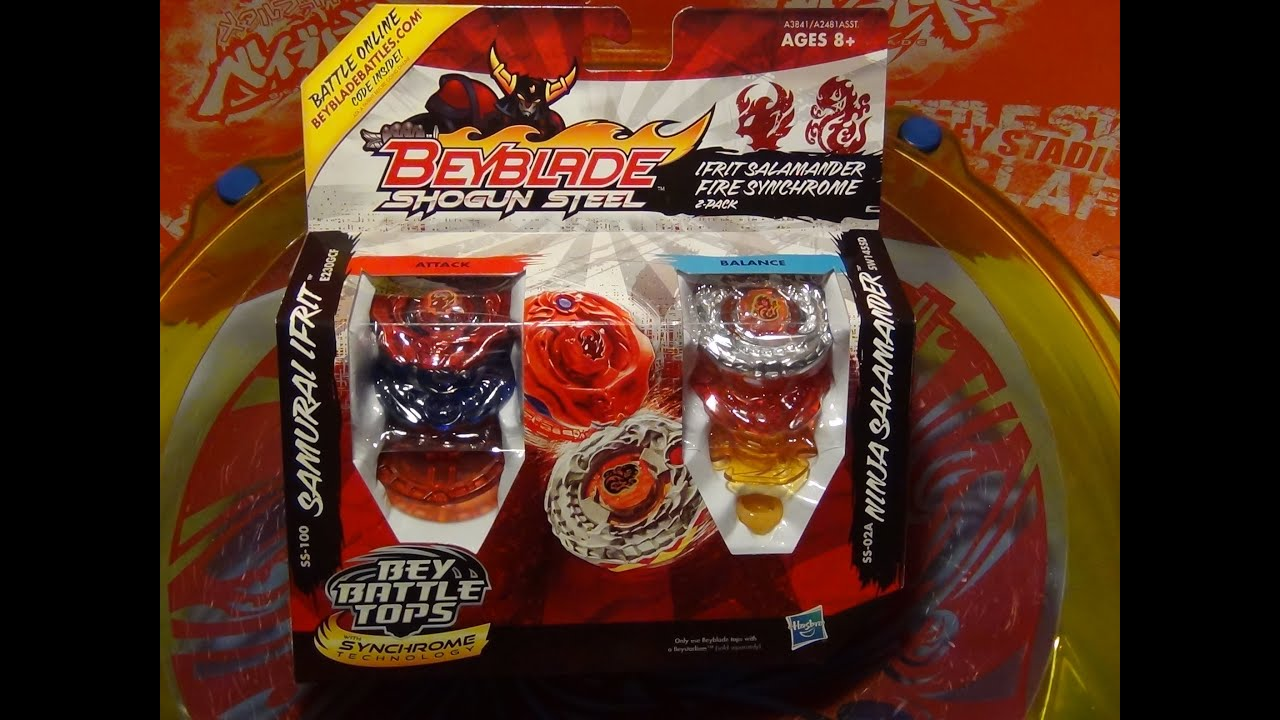 Beyblade Shogun Steel Ifrit Salamander Fire Synchrome 2 Pack Unboxing Review Test Battle Youtube