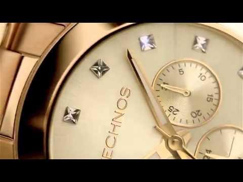 Relógio Technos Crystal Swarovski 6P29AGD 4X - YouTube 47202c960b