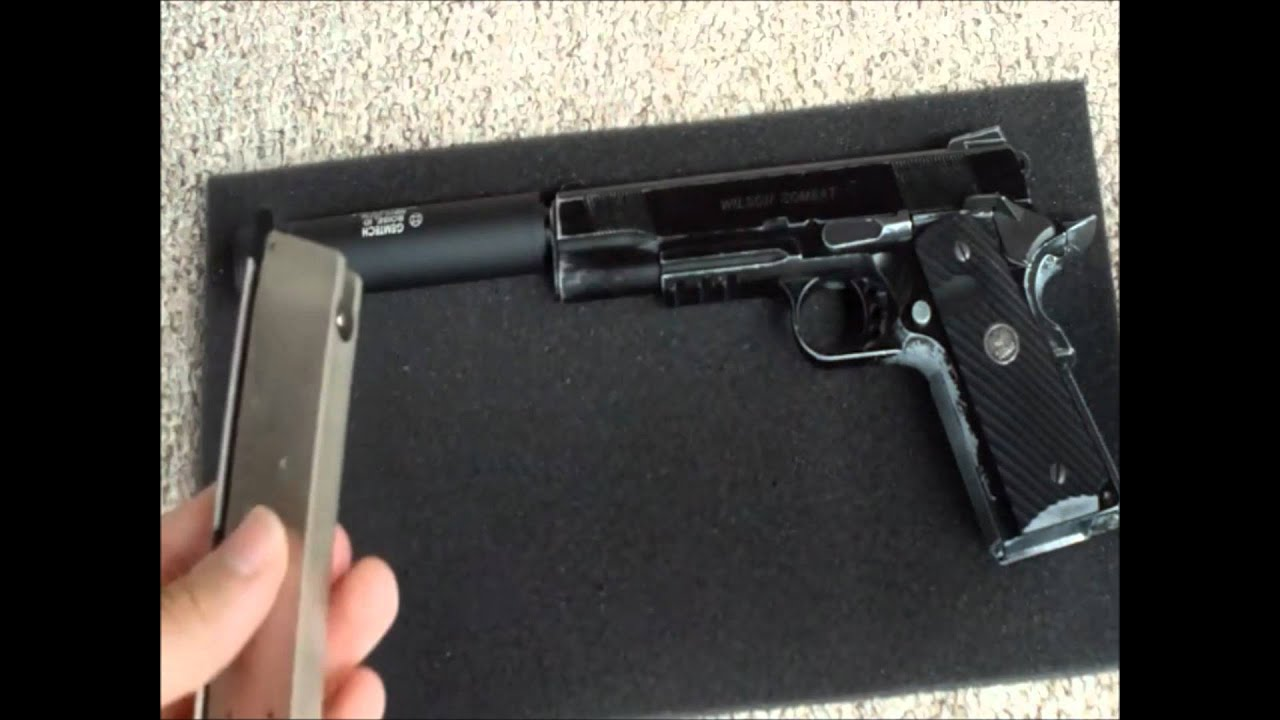 Airsoft silencer Gemtech Outback ll on 1911 GBB - YouTube M1911 Suppressed