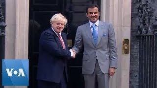 British PM Johnson Greets Emir of Qatar at 10 Downing Street