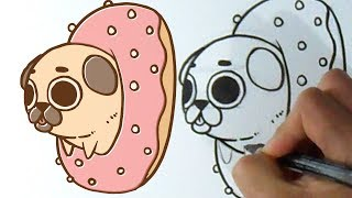 Cómo dibujar Perrito Pug Dona