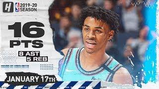 Ja Morant 16 Pts 8 Ast Full Highlights | Cavaliers vs Grizzlies | January 17, 2020