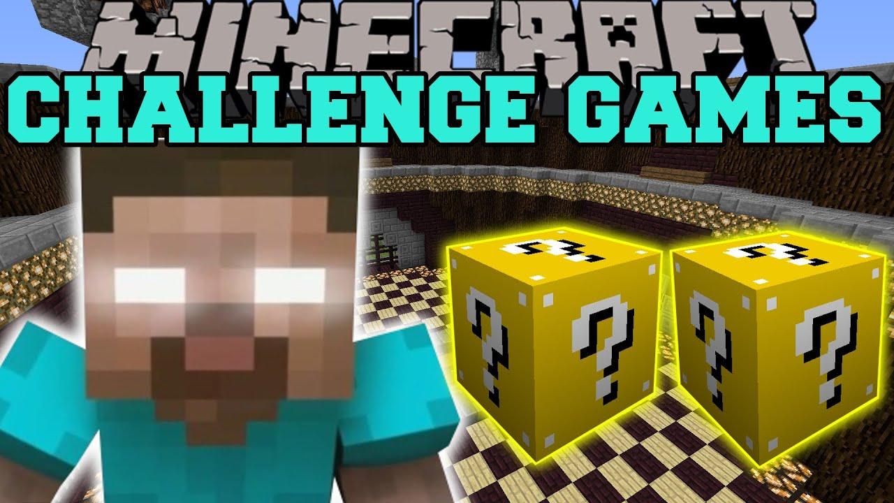 Minecraft HEROBRINE CHALLENGE GAMES Lucky Block Mod Modded Mini - Minecraft herobrine spiele