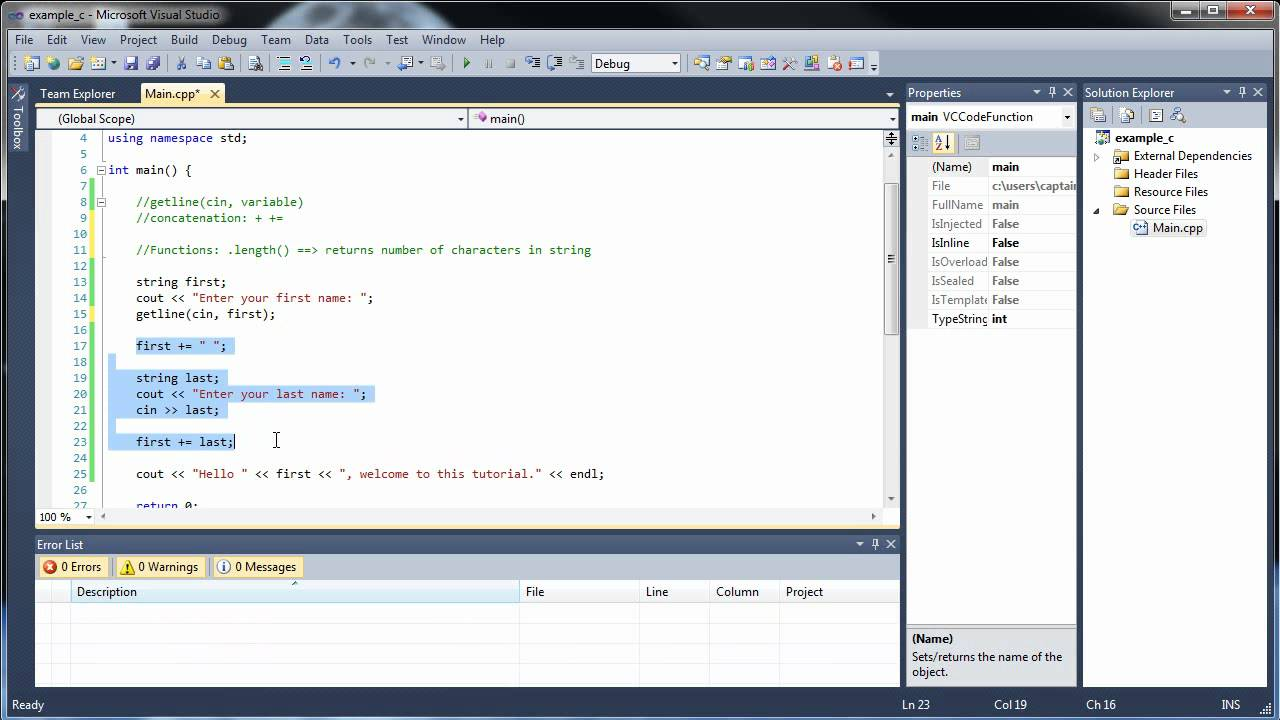 C++ Tutorial 5 - Strings, Getline, Concatenation, and String Functions