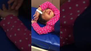 Kid wakes up after anesthesia /  golden crown teeth