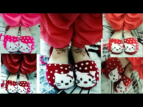 DIY Winter Wear Cute Kitty Slippers 2