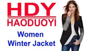 HDY Haoduoyi Spring Sequin Patchwork Sleeve Jackets PU Leather Slim Fit Club Jacket Causal Winter Co