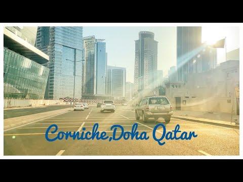 Corniche Doha,Qatar  {4K}-Scenic Drive.