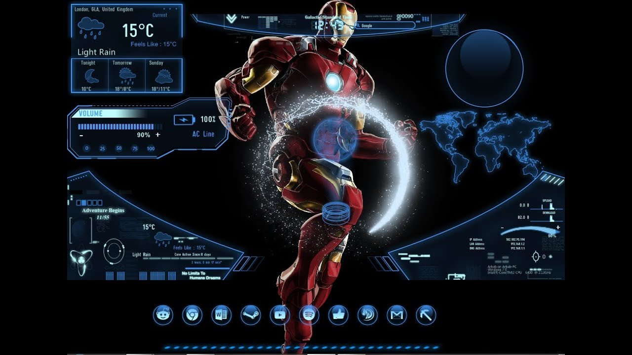 How to make a Iron Man 3D Desktop in Windows 7/8/10 - YouTube